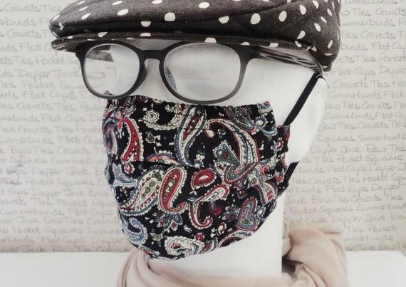 Pack of Two Face Masks, Black Paisley Face Mask, Washable Face Mask, Pocket For Filter, Fashionable Face Mask, Adult Face Mask