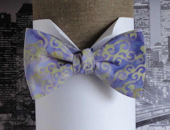 Self tie or pre tied bow tie, lilac and pale olive batik cotton, bow tie, bow ties for men, bow ties for ladies
