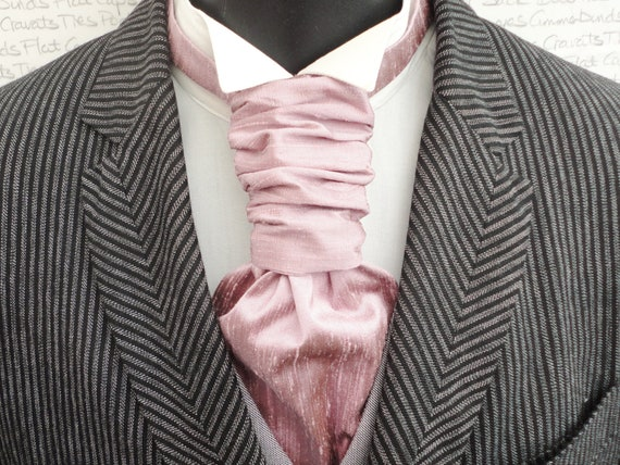 Scrunchy Wedding Cravat,Heather Silk Dupion Scrunchy Cravat, Groom Cravat, Groom Ascot