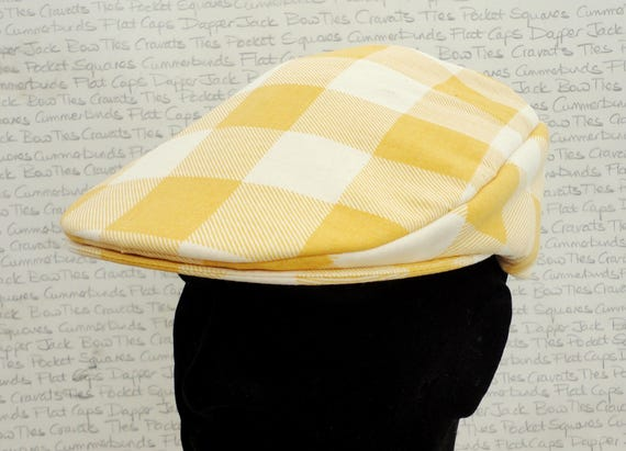 Flat Cap, mustard and cream check flat cap