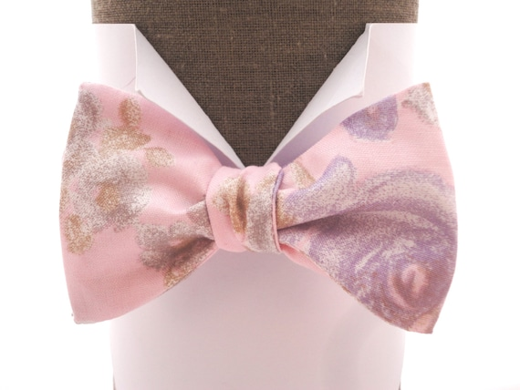 "Pale pink self tie bow tie or pre tied with lilac roses, suitable for weddings, will fit neck size upto 20"" (50cms).t"
