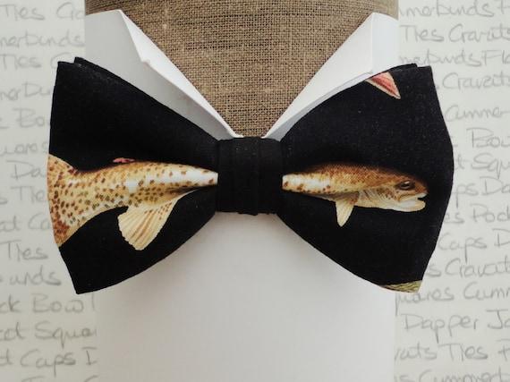 Fish print bow tie, pre tied bow tie, bow ties for men