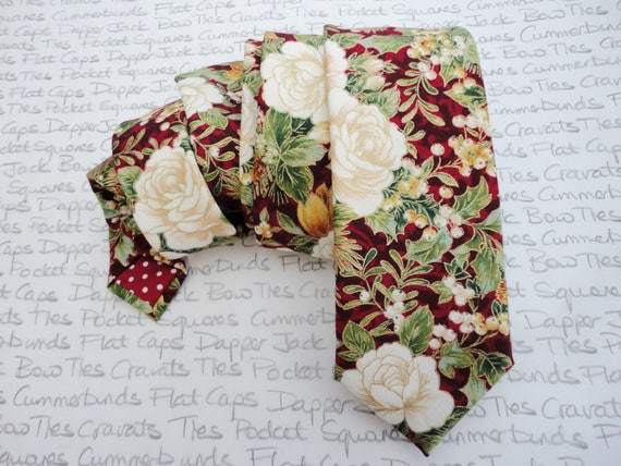 Floral Christmas tie, wedding tie, ties for men