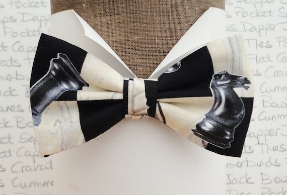Chess Print Bow Tie, Bow Ties For Men, Chess Players Bow Tie, Chequerboard Bow Tie, Chessboard Bow Tie