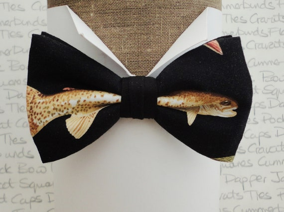 Bow tie, bow ties, fish print bow tie, pre tied bow tie, bow ties for men, bow ties for fishermen