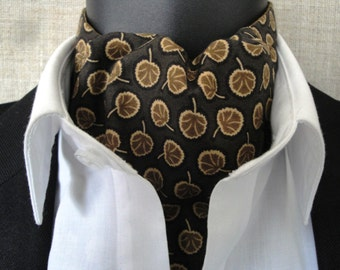 Reversible Cravat, brown cotton print with a mustard print on the reverse side.