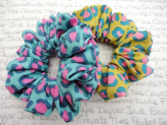 Scrunchies, Pack of Two Scrunchies, Leopard Print Scrunchies, Animal Print Scrunchies
