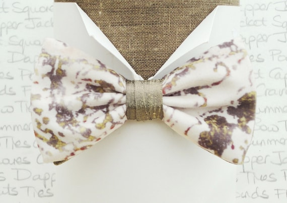 A one off velour bow tie trimmed in silk, taupe shades on an ivory background, bow ties for men