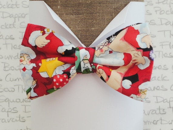 Santa pre tied bow tie, bow ties for men