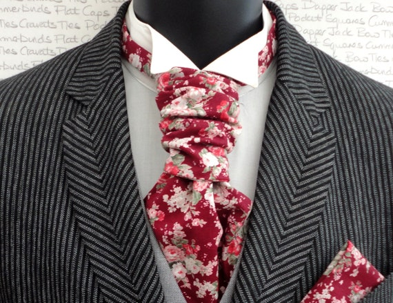Burgundy and Pink Scrunchie Wedding Cravat, Scrunchy Cravat, Cravats For Men