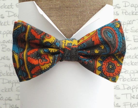 "Paisley Print Bow Tie, made from vintage fabric, pre tied bow tie, will fit neck size up to 20"" (50cms)"