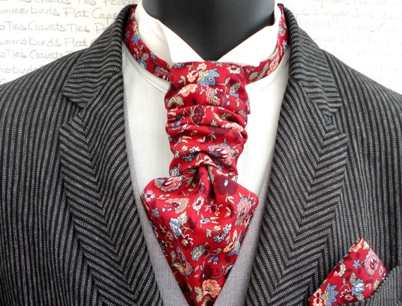 Scrunchie Wedding Cravat, Burgundy Floral Cravat, Cravats For Men