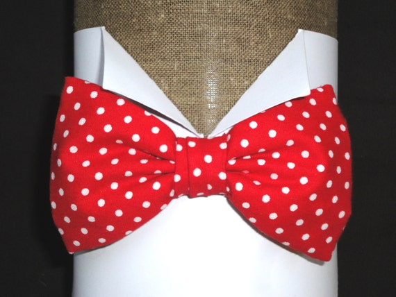 Bow Ties. Men's Bow Ties. Pre tied or self tie bow tie. Red and white spot cotton bow tie on an adjustable neck band.