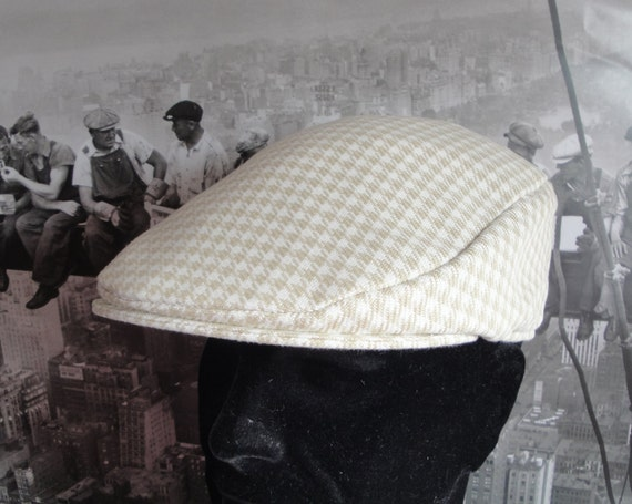Flat Cap, cream and beige hounds tooth check flat cap, flat caps for men