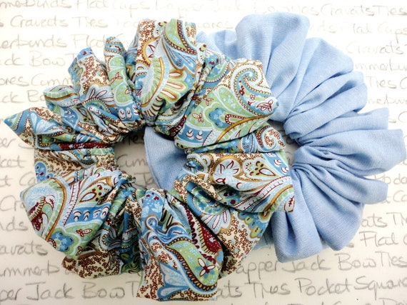 Pack of Two Scrunchies, Pastel Blue Scrunchies, Perfect Gift For a Sister, Mother, Auntie, Girlfriend, Gifts For Girls