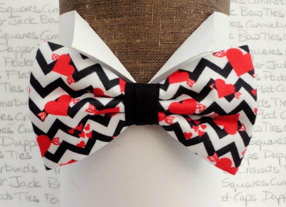 Valentines Day Bow Tie, Pre Tied Bow Tie, Red Hearts on a Black and White Zig Zag Background