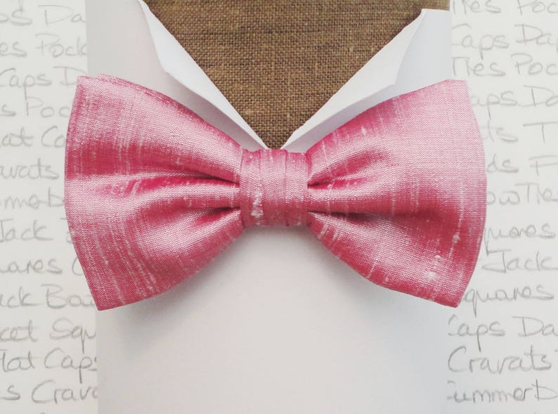 d5d1aedea5b3 Pink silk bow tie bow ties for men bow ties UK silk dupion | Etsy