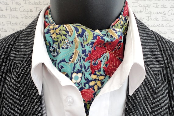 Reversible Cravat, Floral Print And Pale Jade And White Spots On The Reverse Side, Pocket Square To Match