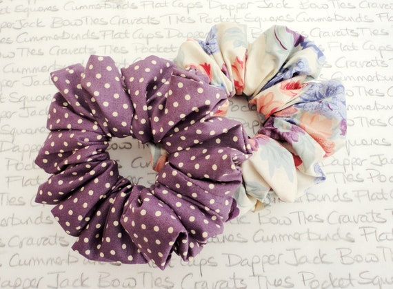 Choice Of Two Hair Scrunchies, Ivory Hair Scrunchie, Crushed Berry Scrunchie With Ivory Spot, Floral Hair Scrunchie