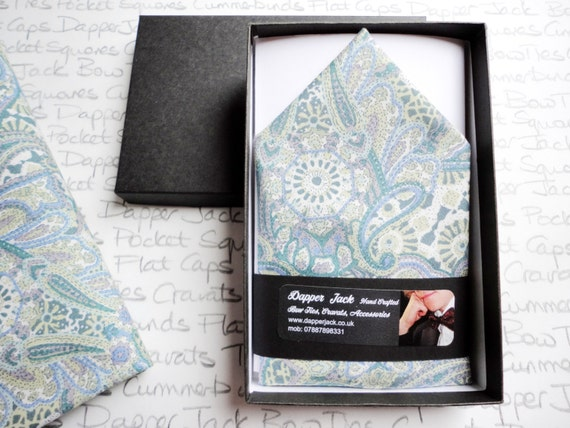 Pocket Square, pastel blue paisley pocket square, pocket squares for men