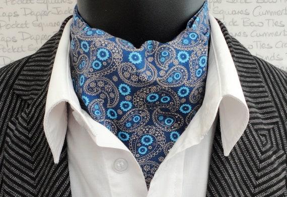 Paisley Reversible Cravat/Ascot, Cravats For Men, Paisley Cravat, Paisley Ascot, Teal Woodland Print Cravat