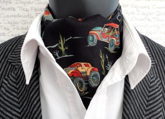 Reversible Cravat, Off Road Vehicles Print and Paisley Print on Reverse, Ascots