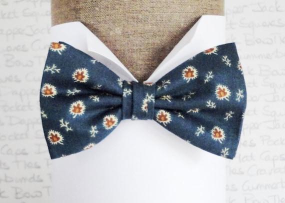 Bow ties for men, indigo floral bow tie, pre tied or self tie