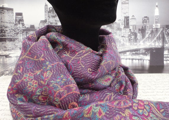 ladies shawl, scarf, pashmina in shades of purple
