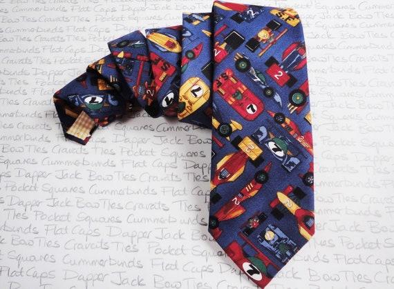 Racing Cars Tie, Ties For Men, Novelty Tie, Car Themed Tie