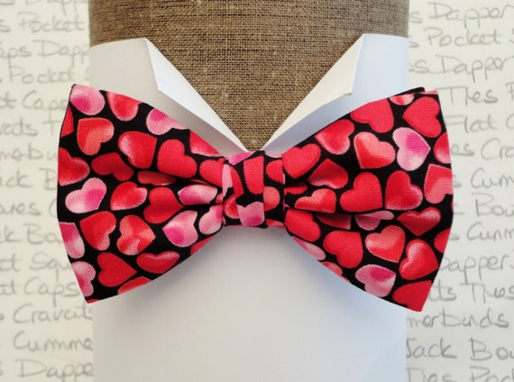 Bow tie, bow ties for men, Valentines bow tie, heart print bow tie