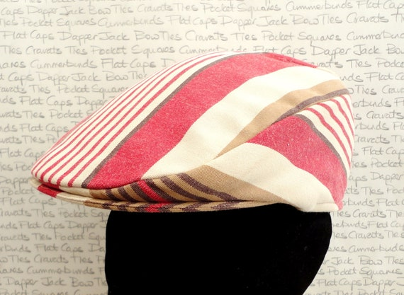 Stripe flat cap for men, golfing hat, driving hat