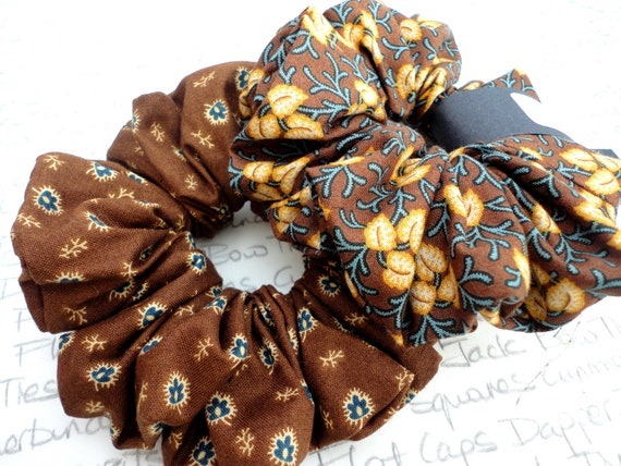 Pack of Two Scrunchies, Brown and Teal Floral Scrunchies, Perfect Gift For a Sister, Mother, Auntie, Girlfriend, Gifts For Girls