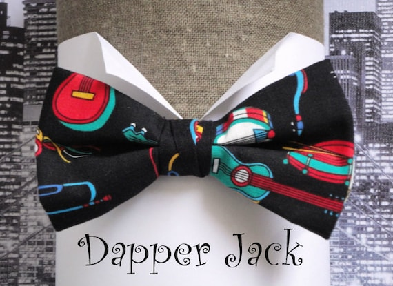 Bow tie, men's bow tie, pre tied bow tie, musical instruments on black cotton