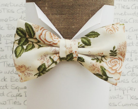 Bow Ties For Men, Roses Bow Tie, Wedding Bow Tie, Ivory Bow Tie