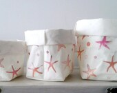 container, organizer, washable paper bag, paper basket, star print, minimalist decoration