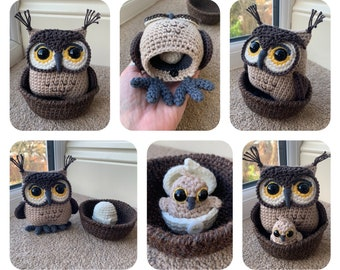Owl with Hatching Owlet Crochet Pattern
