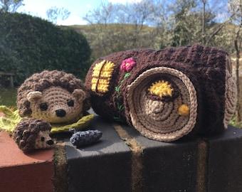 Hedgehog & Log House Playset Crochet Pattern