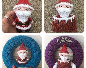 Santa in a Chimney Sleeping Bag (Optional Wreath) Crochet Pattern