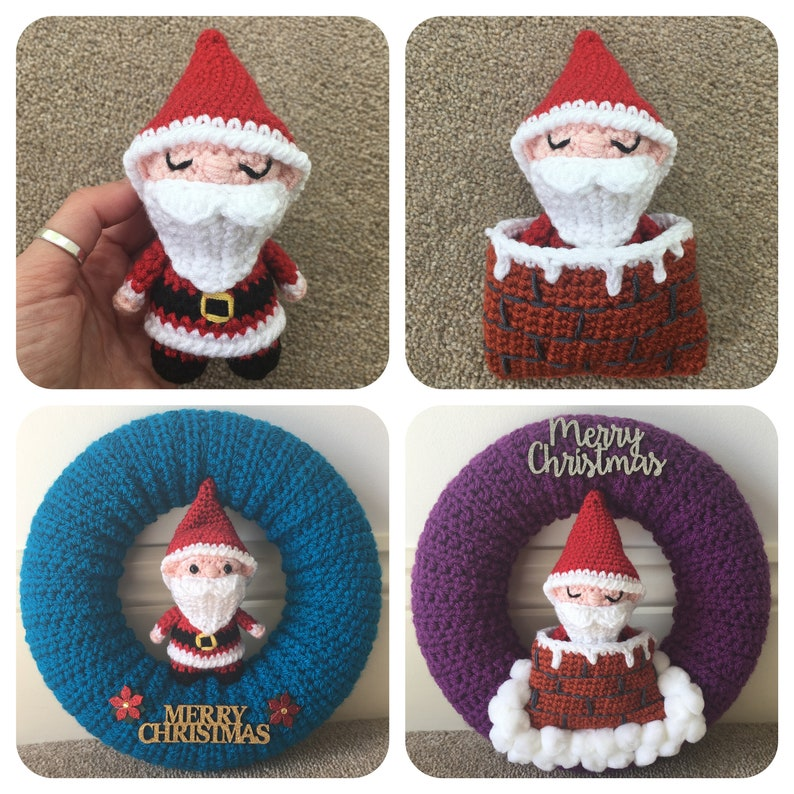Santa in a Chimney Sleeping Bag Optional Wreath Crochet image 0