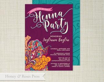 Henna invitations etsy henna party invite moroccan invite wedding shower boho wedding shower printable invite digital invitation stopboris Images