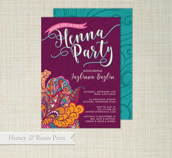 Henna Party Invite Moroccan Invite Wedding Shower Boho Etsy