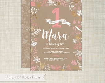 Floral Birthday Invite . Rustic Invite . Shabby Chic . First Birthday Invite . Printable Invitation . Birthday Invite . Printable Invitation