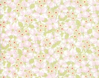 Brenda Riddle Designs . AMBERLEY collection  Moda fabric 18673 15 . Gray colorway pink /& green floral Field Floral in Pebble .