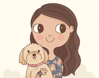 Custom Portrait + Pet Illustration | Personalised Digital Print 8x10 or A4