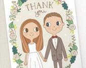 Thank You Card  |  Custom Couple Portrait Illustration  | 5x7