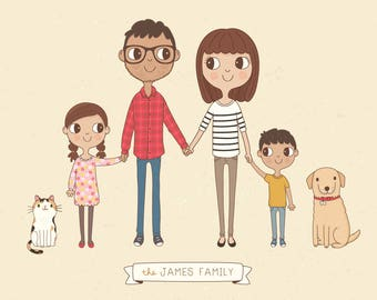 Custom Family Portrait Illustration, Personalised Digital Print, Gift Idea
