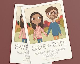 Save the Date | Couple Portrait Illustration