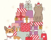 Cat & Dog Christmas Card | Greeting Card