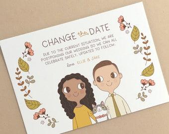 Change the Date | Postponed Wedding or Event Card Digital Artwork