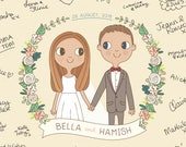 Wedding Guest Book Print |  Custom Couple Portrait Illustration A3
